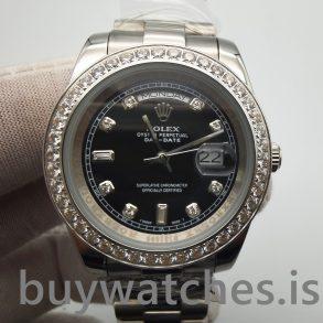 Rolex Day-Date 218349 Erkek 41 mm Siyah Elmaslı Otomatik Saat