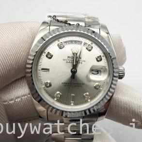 Rolex Day-Date 128239 Erkek 36mm Elmas Kadran Gümüş Kadran Otomatik İzle