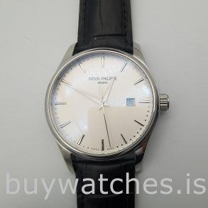 Patek Philippe 135362 Calatrava 5296G Erkek 38 mm beyaz altın otomatik saat