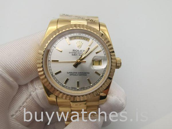 Rolex Day-Date 18238 Sarı Altın Erkek 36mm Otomatik Gümüş Kadranlı Saat