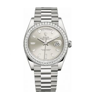 Rolex Day-Date 228349RBR Gümüş Kadran 40mm Erkek Otomatik Saat