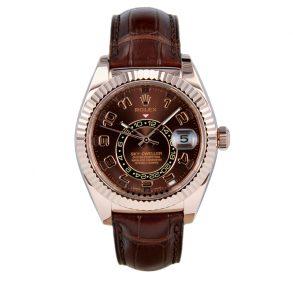 Rolex Sky-Dweller 326135 Deri Çikolata Kadran 42mm Otomatik Saat