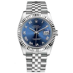 Rolex Datejust 116234 Replica Mavi Kadran 36mm Bayan Gümüş Saat
